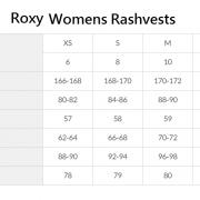 Roxy Rash size chart